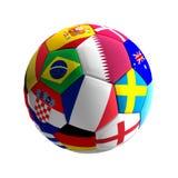 A bola de futebol com bandeiras projeta Catar 3d-illustration ilustração stock