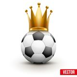 Bola de futebol com a coroa real da rainha Fotografia de Stock