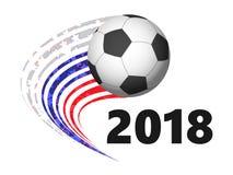 Bola de futebol com em movimento cores da bandeira do russo ilustração stock