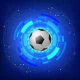 Bola de futebol com fundo moderno da tecnologia ilustração stock