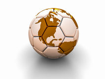 A bola de futebol com a imagem das partes do mundo 3d rende Fotos de Stock Royalty Free
