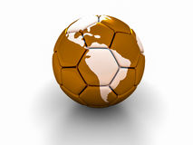 A bola de futebol com a imagem das partes do mundo 3d rende Fotografia de Stock Royalty Free