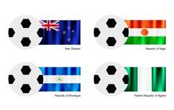 Bola de futebol com Nova Zelândia, Niger, Nicarágua e Fotografia de Stock Royalty Free