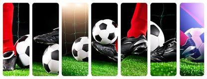 Bola de futebol com seus pés no campo de futebol Fotos de Stock