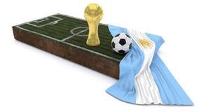 bola de futebol 3D e troféu no remendo da grama com bandeira Fotografia de Stock