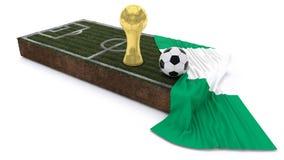 bola de futebol 3D e troféu no remendo da grama com bandeira Fotografia de Stock Royalty Free