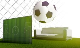 Bola de futebol 3d-illustration Fotos de Stock Royalty Free