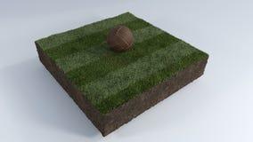 bola de futebol 3D no remendo da grama Fotografia de Stock