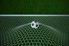 bola de futebol da rendição 3d no objetivo Bola de futebol na rede com fundo claro do projetor e do estádio, conceito do sucesso Fotografia de Stock