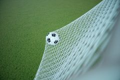 bola de futebol da rendição 3d no objetivo Bola de futebol na rede com fundo claro do projetor e do estádio, conceito do sucesso Imagens de Stock Royalty Free