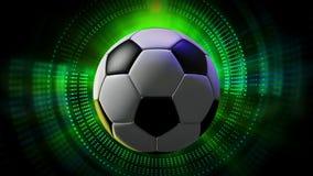 A bola de futebol de giro como os esportes 3d animados faz sinal ao fundo dos gráficos em HD completo ilustração do vetor