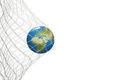 Bola de futebol do globo da terra na rede do futebol objetivo 3D-Illustration Ele Fotos de Stock