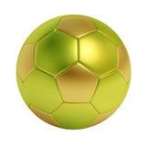 Bola de futebol dourada e verde isolada no fundo branco imagem de stock