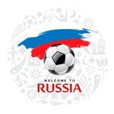 A bola de futebol e a bandeira da escova de pintura de Rússia projetam ilustração do vetor