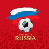 A bola de futebol e a bandeira da escova de pintura de Rússia projetam ilustração royalty free