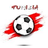 Bola de futebol e bandeira de Tunísia Imagem de Stock