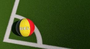 Bola de futebol em cores nacionais de Bélgica em um campo de futebol Copie o espaço no lado direito Imagem de Stock Royalty Free