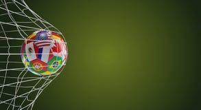 A bola de futebol embandeira o objetivo 3d-illustration do futebol ilustração royalty free