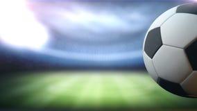 A bola de futebol gerencie contra o fundo do estádio no lado direito com espaço para o título, o logotipo ou o fundo 4K da contag ilustração royalty free