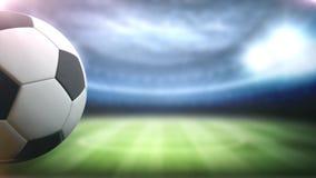 A bola de futebol gerencie contra o fundo do estádio no lado esquerdo com espaço para o título, o logotipo ou o fundo 4K da conta ilustração royalty free