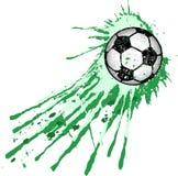 A bola de futebol/ilustração do futebol, com pintura espirra Fotos de Stock Royalty Free
