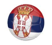 Bola de futebol isolada, ou futebol, com a bandeira de país da Sérvia ilustração stock