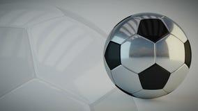 Bola de futebol lustrosa de giro no fundo branco - dar laços sem emenda ilustração stock