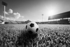 Bola de futebol na grama no estádio de futebol Imagens de Stock