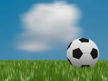 Bola de futebol na grama verde Fotos de Stock Royalty Free