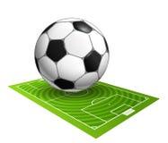 Bola de futebol na ilustração do campo Fotografia de Stock Royalty Free