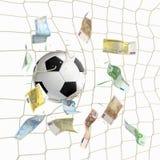 Bola de futebol na rede com euro- cédulas Imagens de Stock Royalty Free