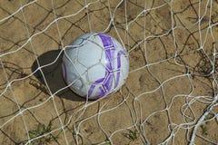 Bola de futebol na rede - objetivo Imagem de Stock Royalty Free