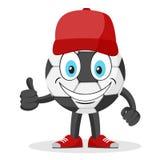 Bola de futebol no boné de beisebol e nas sapatilhas que sorriem e que mostram como em um branco ilustração do vetor