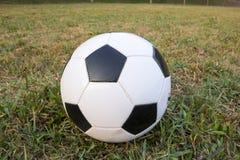 Bola de futebol no campo de grama verde Imagem de Stock