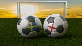 Bola de futebol no campo na frente do objetivo, Rússia 2018 Foto de Stock Royalty Free