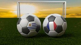 Bola de futebol no campo na frente do objetivo, Rússia 2018 Imagens de Stock Royalty Free