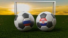 Bola de futebol no campo na frente do objetivo, Rússia 2018 ilustração royalty free
