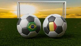 Bola de futebol no campo na frente do objetivo, Rússia 2018 Imagens de Stock