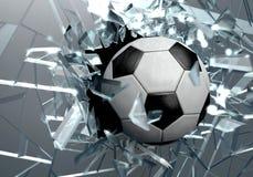 Bola de futebol quebrada do vidro 3D Foto de Stock Royalty Free
