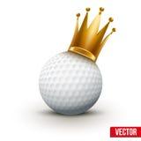 Bola de golfe com a coroa real da rainha Imagem de Stock Royalty Free
