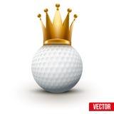 Bola de golfe com a coroa real da rainha Imagens de Stock