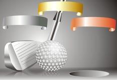 Bola de golfe com o clube de golfe com com carta dos vencedores Imagens de Stock