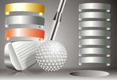 Bola de golfe com o clube de golfe com com carta dos vencedores Foto de Stock Royalty Free