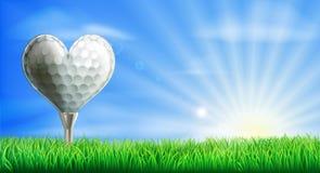 Bola de golfe dada forma coração Fotografia de Stock