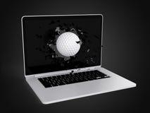 A bola de golfe destrói o portátil Imagem de Stock