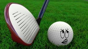 Bola de golfe dos desenhos animados que está sendo batida com motorista Imagens de Stock