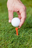 A bola de golfe e o ferro na grama verde detalham o macro Foto de Stock