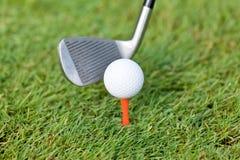 A bola de golfe e o ferro na grama verde detalham o macro Fotos de Stock Royalty Free