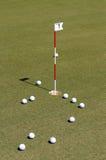 Bola de golfe no verde da prática Fotografia de Stock Royalty Free