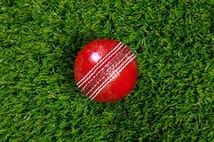 Bola de grillo de cuero roja en hierba Foto de archivo
